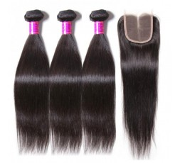 EB VIRGIN HAIR- Lot 3 Tissage + Closure Lisse  LOT 3 BOULES DE TISSAGE + 1 CLOSURE EB VIRGIN HAIR