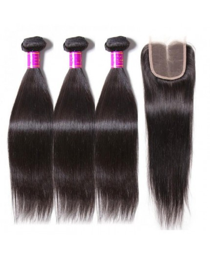 EB VIRGIN HAIR- Lot 3 Tissage + Closure Lisse