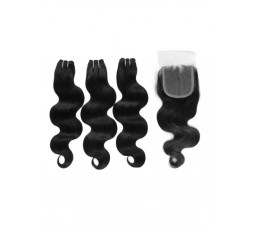 EB VIRGIN HAIR- Lot 3 Tissage + Closure Body Wave  LOT 3 BOULES DE TISSAGE + 1 CLOSURE EB VIRGIN HAIR