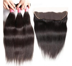 EB VIRGIN HAIR- Lot 3 Tissage + Lace Frontal Lisse  LOT 3 BOULES DE TISSAGE + 1 LACE FRONTAL