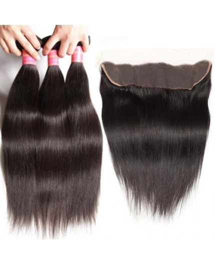 EB VIRGIN HAIR- Lot 3 Tissage + Lace Frontal Lisse
