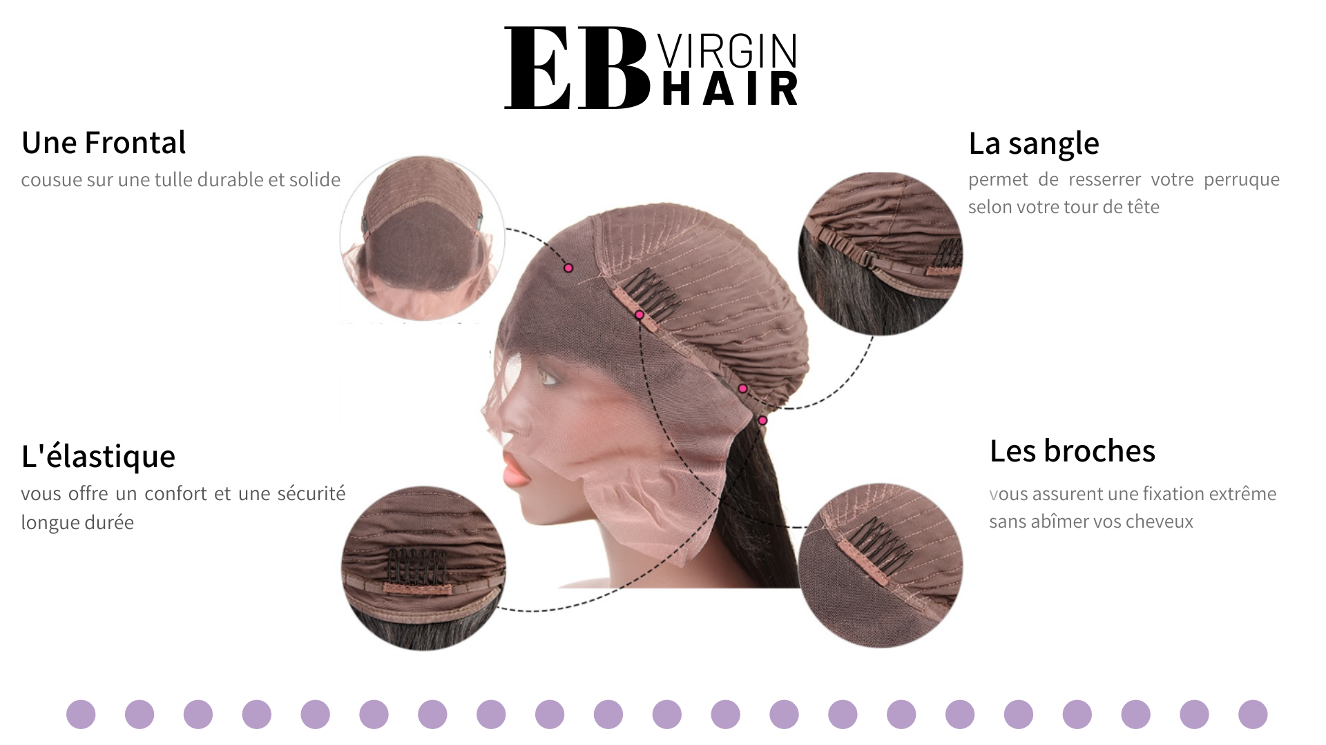 5 - LA LACE FRONTAL EB VIRGIN HAIR - la lace tulle sangle accroche perruque intérieur