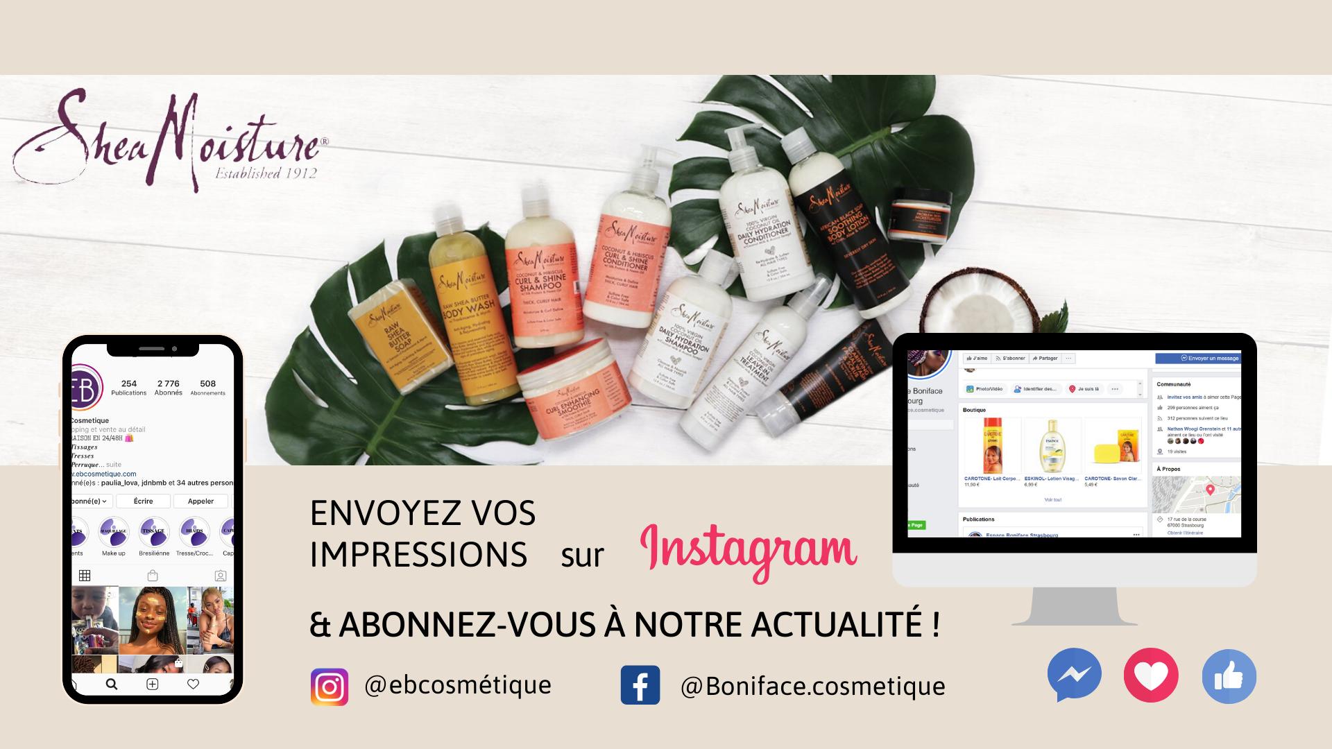 fiche produit ebcosmetique shea moisture 100% Virgin coconut oil daily hydratation moisturizer routine capillaire afro bouclé facebook instagram